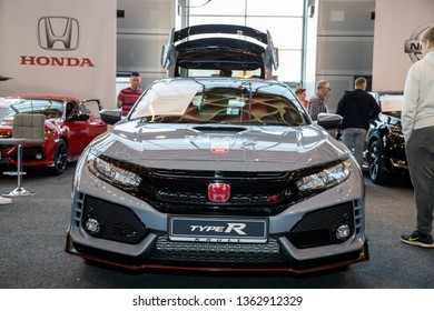 "Rostock, Germany - April 8, 2019: ""car trend 2019 - auto fair Rostock"" - Honda CIVIC Type R"