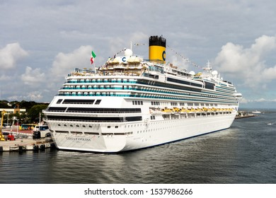 ROSTOCK, GERMANY - AUGUST 19, 2016: The luxury curise ship Costa Favolosa near the port of Rostock in Germany prepare to depart for a holiday