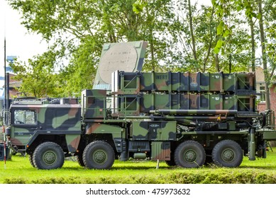 ROSTOCK, GERMANY - AUGUST 2016: Army camouflage military truck