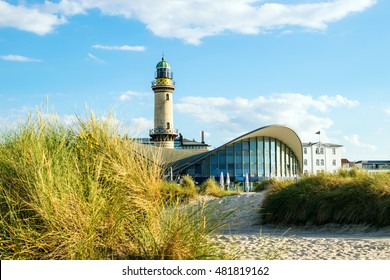 Rostock, Germany - August 22, 2016: Lighthouse of Warnemuende.