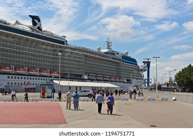 Rostock, Germany - Circa 2017: The Celebrity Eclipse cruise ship docked at the port of Warnemunde.