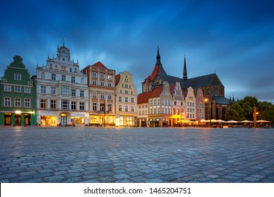 Rostock, Germany. Cityscape image of Rostock, Germany during twilight blue hour.
