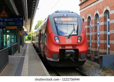 ROSTOCK, GERMANY - JUNE 23, 2018: DB Regional train at the main station in Rostock, Germany
