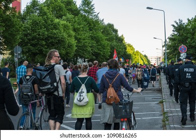 Rostock, Germany - May 14, 2018: AfD demo with slogan Stop Islamization and counter demonstration of the Left in Luetten Klein. AfD, Alternative for Germany, is a right wing political party in Germany