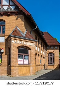 Rostock, Germany - May 26, 2017: Warnemunde Railway Station Building in Warnemunde, Rostock, Mecklenburg, Germany.