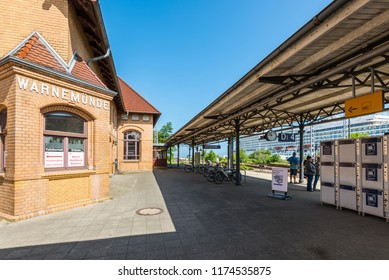 Rostock, Germany - May 26, 2017: Warnemunde Railway Station in Warnemunde, Rostock, Mecklenburg-Western Pomerania, Germany.