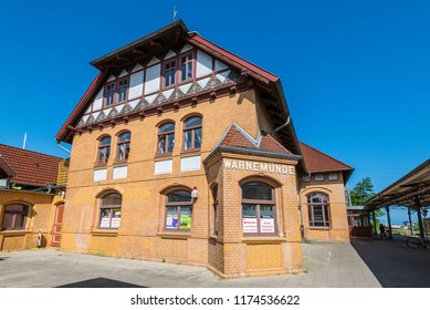 Rostock, Germany - May 26, 2017: Warnemunde Railway Station Building in Warnemunde, Rostock, Mecklenburg-Western Pomerania, Germany.
