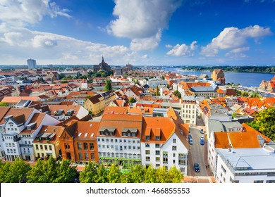 Rostock, Germany old city skyline.