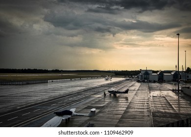 Rostock Laage, Germany - June 10, 2018: amazing thunderstorm clouds over runway at Rostock Airport in Germany