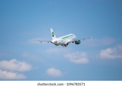 Rostock Laage, Germany - May 22, 2018: Airbus A319-112 take off from the Airport Rostock Laage in germany - D-ASTA Germania - Airbus A319-112