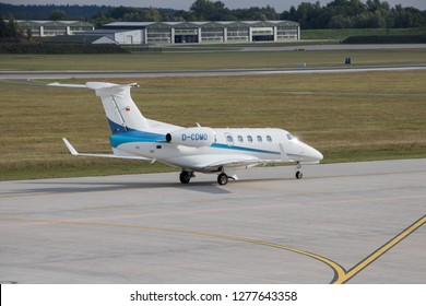 Rostock Laage, Germany - September 10 , 2018:  Embraer Phenom 300 Jet on the Airport Rostock Laage in germany - Embraer Phenom 300 Business Jet