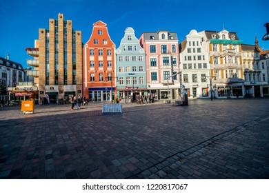 Rostock,Germany -31.Oktober,2018:House facades in Kröpeliner street is the pedestrian zone and shopping street.