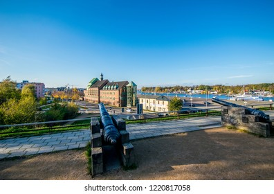 Rostock,Germany -31.Oktober,2018:On the Kanonsberg with cannons and view over the Warnow river