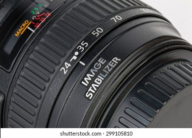 Rostov - on - Don, Russia - July 22, 2015: Details of  the lens - Canon EF 24-105mm f/4L IS USM.
