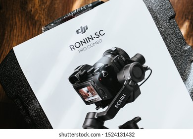 Rostov on Don / RUSSIA - October 4 2019: RONIN SC New gimbal stabilizer from DJI on the box. video stabilization equipment