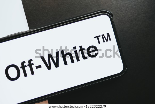 Rostov on Don / RUSSIA - October 4 2019: iPhone with off-white brand logo on the screen, off white is luxury fashion street style brand