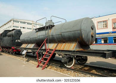 Rostov - on - Don, Russia - September 22, 2015: Old train in technical museum, established in Rostov - on - Don.
