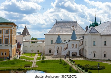 Rostov, RUSSIA – 2015 July 30: courtyard of the Rostov Kremlin on July 30 in Rostov, Yaroslavl region, Russia. Nearly all the Kremlin buildings date from the 1670s and 1680s.