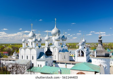 ROSTOV, RUSSIA - MAY 3, 2016: Assumption Cathedral and church of the Resurrection in Rostov Kremlin, Russia. Golden Ring of Russia.