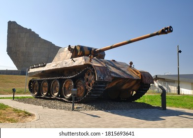 Rostov state/Russia - 09.12.2020: Medium German tank panther in the Sambek heights museum
