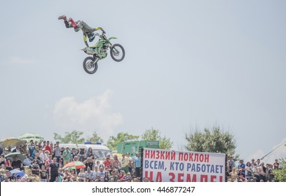 Rostov-on-Don, Rostov region, Russia- June 05,2016: Motofreestyle - jumps with incredible acrobatic elements on Bizon Track Show