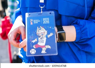 ROSTOV-ON-DON, RUSSIA - 01 APRIL, 2018. The official volunteers passport with the image mascot of the 2018 FIFA World Cup and the FIFA Confederations Cup 2017 wolf Zabivaka