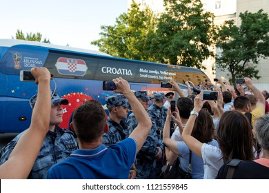 Rostov-on-Don, Russia, 06/26/2018, World Cup 2018, Croatian fans are escorting their football team's bus to the stadium for a match against Iceland