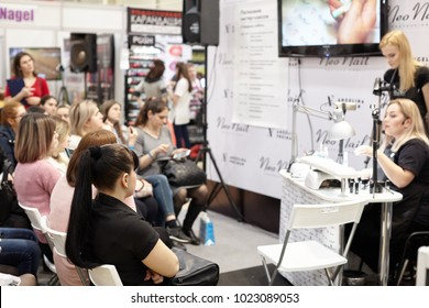 """Rostov-on-Don, Russia 10-February: Master class, training courses of a group of young manicure masters at the """"Sharm"""" exhibition in Rostov-on-Don, February 10, 2018."""