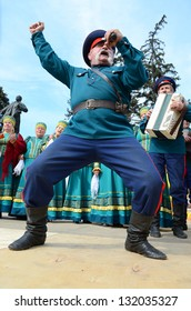 ROSTOV-ON-DON, RUSSIA - 17 March: The Cossack Maslenitsa - a traditional celebration and national ski races around, March 17, 2013 in Rostov-on-Don, Russia