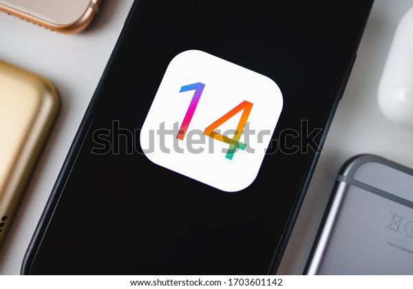 ROSTOV-ON-DON / RUSSIA - April 11 2020: iPhone with iOS 14 logo on the screen close up, new operating system 2020 on apple devices
