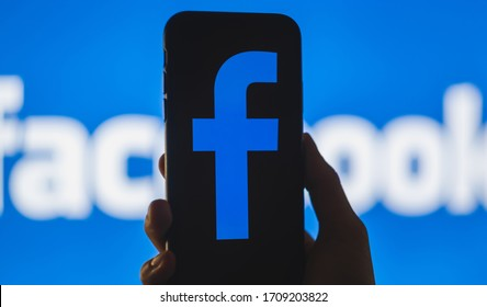 ROSTOV-ON-DON / RUSSIA - April 20 2020: Facebook logo on the smartphone screen in hand.