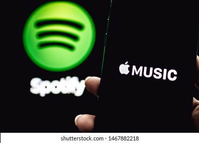 ROSTOV-ON-DON / RUSSIA - August 1 2019: Screen shot of Apple music app and Spotify. Apple Music and Spotify the most popular music streaming services