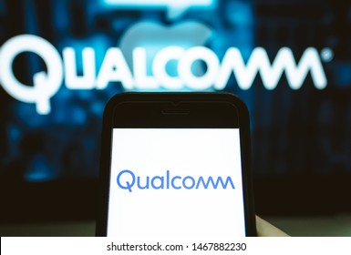 ROSTOV-ON-DON / RUSSIA - August 1 2019: Screen shot of Qualcomm logo on the iPhone. Qualcomm is a company that manufactures processors for mobile devices