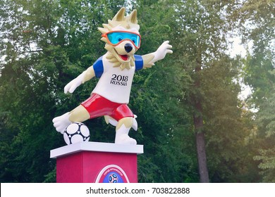 ROSTOV-ON-DON, RUSSIA - AUGUST,  2017 The official mascot of the 2018 FIFA World Cup and the FIFA Confederations Cup 2017 wolf Zabivaka.