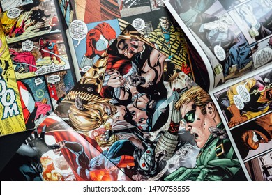 ROSTOV-ON-DON / RUSSIA - August 5 2019:  Comics page background