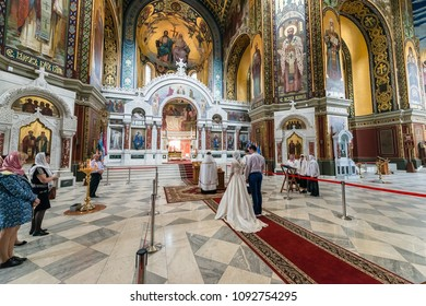 ROSTOV-ON-DON, RUSSIA - CIRCA NOVEMBER 2017: Back view of bride and groom in church