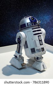 "Rostov-on-Don, Russia - December 28: R2-D2 - the character of the astronomical droid in the fictional universe of Star Wars at the exhibition ""City of Robots"" on December 28, 2017 in Rostov, Russia."