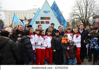 ROSTOV-ON-DON, RUSSIA - FEB 7: Ceremony of launching the Olympic countdown clock time before the XXII Olympic and XI Paralympic Winter Games of 2014 in Sochi, Feb 7, 2013 in Rostov-on-Don, Russia