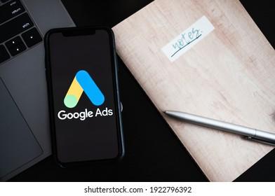Rostov-on-Don, RUSSIA - February 15 2021: Google Ads logo on smartphone screen.