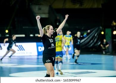 Rostov-on-Don, Russia - February 22, 2020 : Handball game Rostov-Don vs Metz Handball ( 24 - 29 ) - 2019/2020 Women's EHF Champions League - Main Round