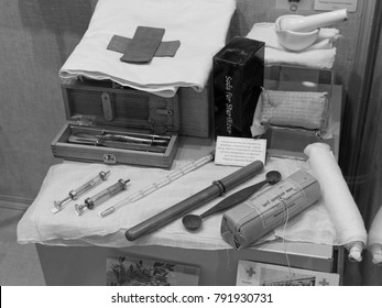 Rostov-on-Don, Russia - January 10, 2018: Surgical instruments used during the First World War - exhibits of the Rostov regional Museum of local lore