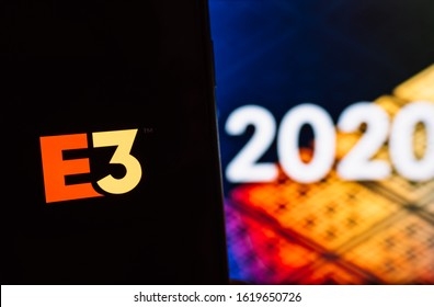 Rostov-on-Don / RUSSIA - January 18 2020: E3 2020 logo on display. exhibition of electronic games