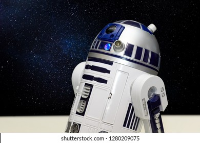 """Rostov-on-Don, RUSSIA - January 5, 2019: R2-D2 - the character of an astronomical droid in the fictional Star Wars universe at the """"Festival of Robots"""" exhibition."""