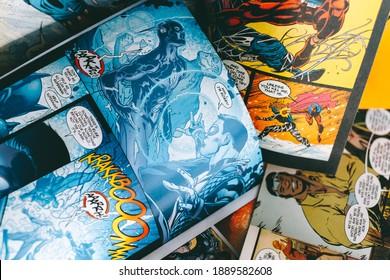 ROSTOV-ON-DON, RUSSIA - January 5 2021:  Comic books, close-up