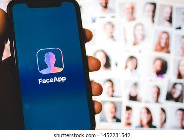 ROSTOV-ON-DON / RUSSIA - July 16 2019: the iPhone with  FaceApp on the screen, faceapp is a popular photo editing application on the App Store