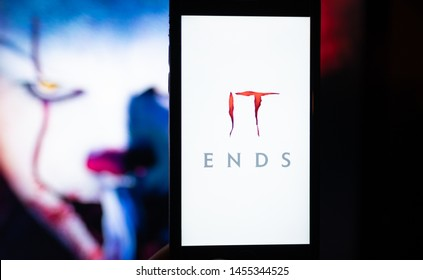 ROSTOV-ON-DON / RUSSIA - July 19 2019: iPhone with IT Chapter Two movie poster on the screen