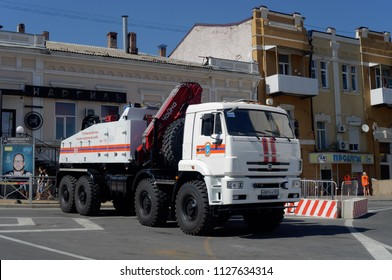 Rostov-on-Don, Russia - July 2, 2018: heavy tow truck KAMAZ-6560 with hydraulic manipulator. Special machinery of Ministry of Emergency Situations