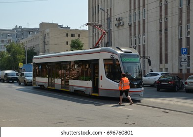 ROSTOV-ON-DON, RUSSIA - JULY 25, 2017 - Tram number 10 on the street of Rostov-on-Don