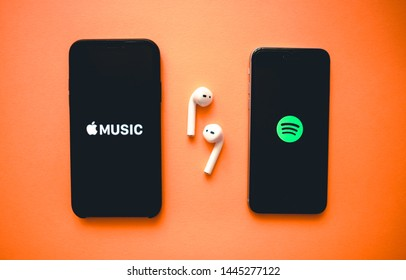 ROSTOV-ON-DON / RUSSIA - July 8 2019: Screen shot of Apple music app and Spotify. Apple Music and Spotify the most popular music streaming services