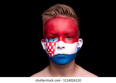 ROSTOV-ON-DON, RUSSIA - June 14: Young Fans Painted with Flags on their faces,  14 June 2018
